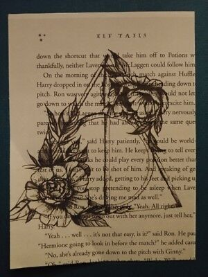 Harry Potter book page print, Deathly Hallows, unframed home decor hangings