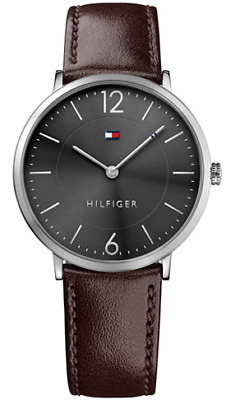 ... Stainless-Steel Case Leather Strap Mens NWT + Warranty 1791216. Source · Tommy Hilfiger Men's Brown Leather Black Dial Watch 1710352
