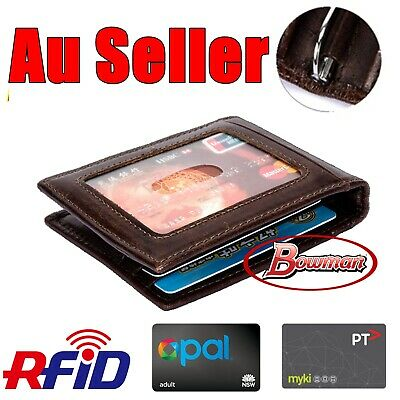 Mens Leather Wallet Purse Money Clip Bifold Opal Myki RFID Blocking Anti Scan