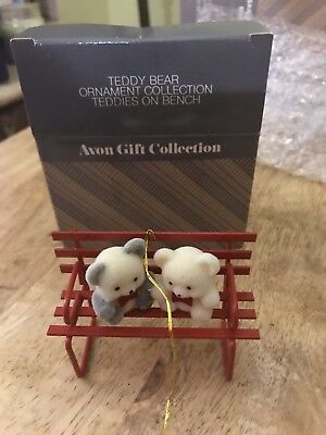 Vintage Avon Gift Teddy Bear Ornament Collection Teddies On Bench