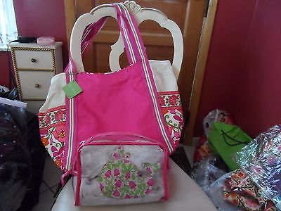 Vera Bradley large colorblock tote and clear cosmetic in Lilli Bell pattern NWT