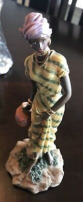 Rare African Woman Figurine Sculpture Statue Water Bowl Hand Painted Collectible