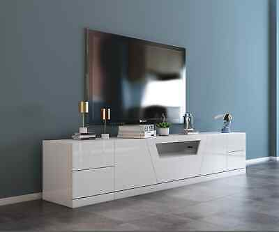 High Gloss White TV Stand Entertainment Unit Cabinet with Optional Side Drawers