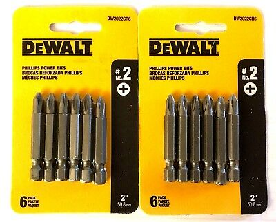 "New 12 DEWALT #2 Phillips 2"" Long Power Bits - Free Shipping"