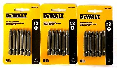 "New 18 DEWALT #2 Phillips 2"" Long Power Bits - Free Shipping"