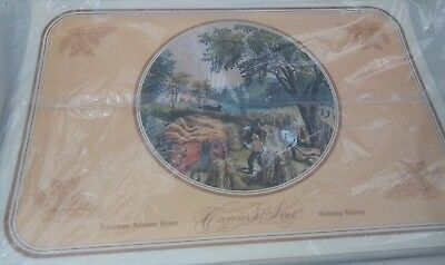 Vintage 1980's Currier and Ives American Winter Autumn Scene Dinner Placemats