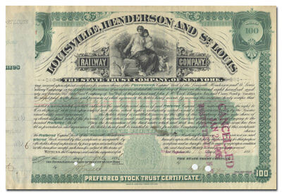 Louisville, Henderson and St. Louis Railway Company Stock Certificate (1896)