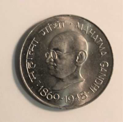 One Rupees Gandhi * Indian * 1969 issue CH BU , UNC