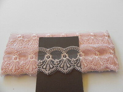Peach Silky embroidered Lace - 4.5cm