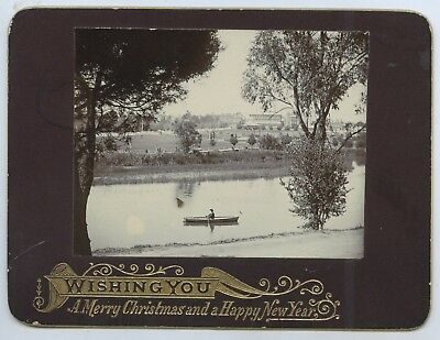 C1900 Scarce Court Size Cabinet Greeting Card Photo River Torrens Adelaide Sa X2