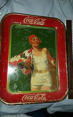 "1930 Coca-Cola Tin Lithograph Advertising Serving Tray ""bather Girl"" Coke Tray"