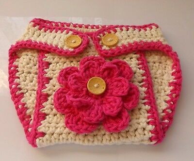 Nappy Covers Newborn Baby Hand Crochet Cotton Button Flower Baby Shower Gift NEW