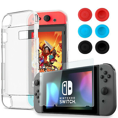 Nintendo Switch Soft Case + Tempered Glass Screen Protector + Thumb Grips Caps