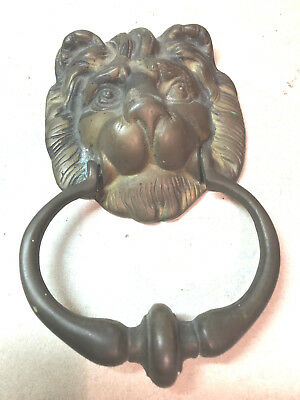 Beautiful Vintage Solid Brass Lion Head Door Knocker