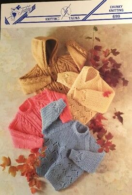 Chunky Knitting Pattern Boys Girls Baby Toddler Sweater Jumper Size 20/30""