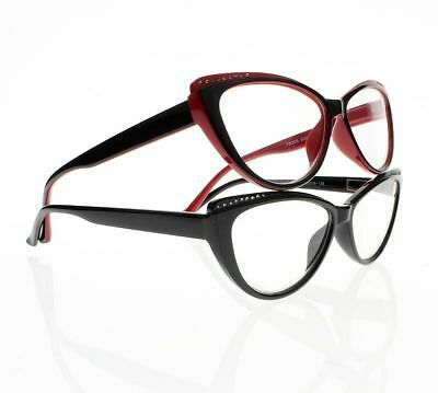 Ladies Rhinestone Cat Eye Retro Eyewear Reading Glasses 1.0 2.0 3.0 4.0 New