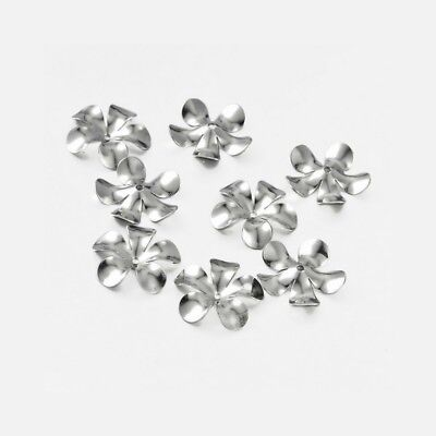 50 x Stainless Steel Large Flower Bead Caps 15mm Diameter (Suits 6-7mm Beads)