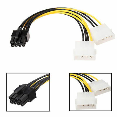 4 pin Molex*2 LP4 to 8 pin PCI Express Video Graphic Card Power Adapter Cable