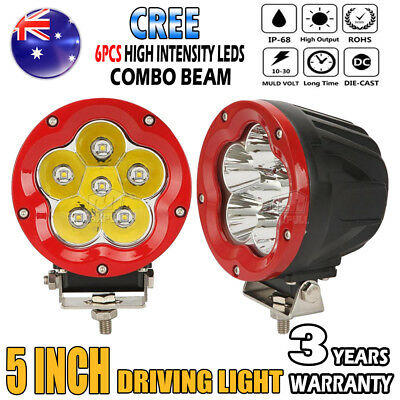2x 1200W 5Inch Cree Round LED Driving Light Spot Flood Combo Offroad 4x4WD Red