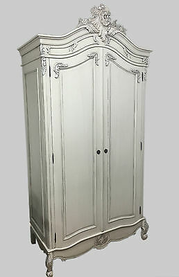French Style Painted Double Wardrobe - Armoire