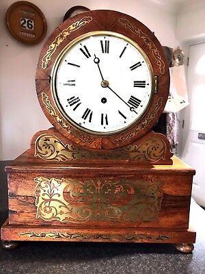 Large Antique Fusee Drum Head Clock
