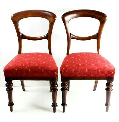 A pair of Victorian Walnut Balloon Back Chairs - FREE Shipping [4085]