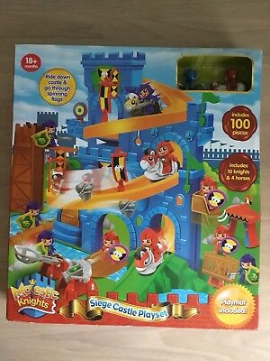 Castle Playset Childrens Toy Siege With Figures 100 Piece & Playmat - NEW