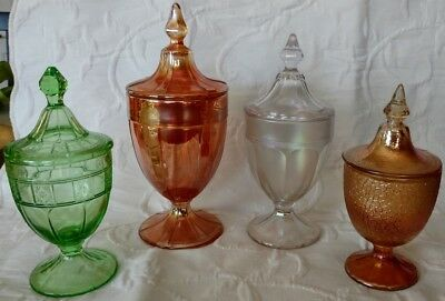 Antique Imperial Carnival Depression Glass Pedestal Candy Dishes 4 all nice