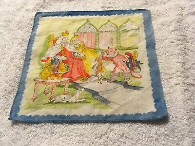Vintage Child's Puss 'N Boots Blue-Edged Handkerchief