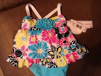 Girl's Koala Baby Two Piece Floral Swimsuit Size 9M NWT