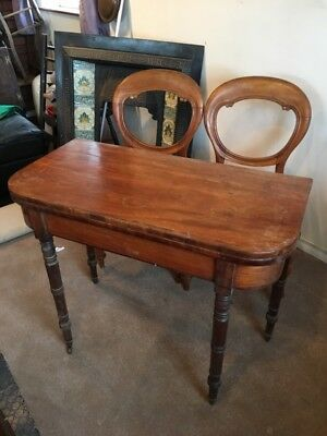 Antique Mahogany Card Table With Chairs