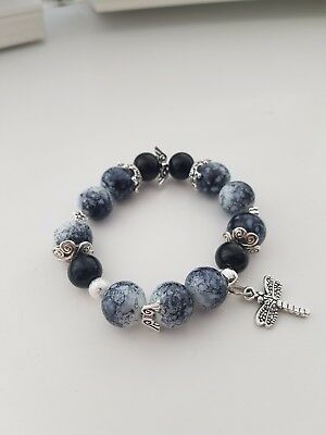 Handmade Marble Effect / Black Glass Bead Stretch Bracelet With Silver Charm