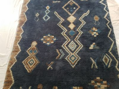 Original Antique Wool Hand knotted Oriental Rug.Vintage Moroccan Handmade Carpet