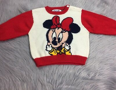 Vintage Disney Babies Minnie Mickey Mouse Baby Girls Sweater