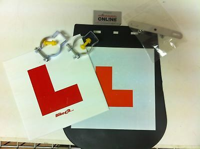 Motorcycle Scooter  L Plate Pack 1 x Mudflap L-Plate & 1 x Rigid L-plate