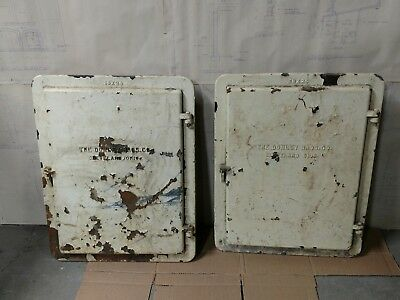 Reclaimed Vintage Industrial Cast Incinerator Doors.  Pair.