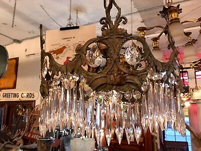Unusual 3 Light Vintage Weathered Brass and Crystal Drop Chandelier New Wiring