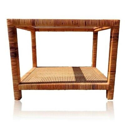 Vtg Wrapped Rattan Bamboo Wicker End Accent Hall Table Glass Top & Cane Shelf