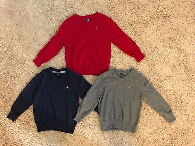 EUC Baby Gap  Boys Red Navy Gray Elbow Patch V Neck Pullover Sweater