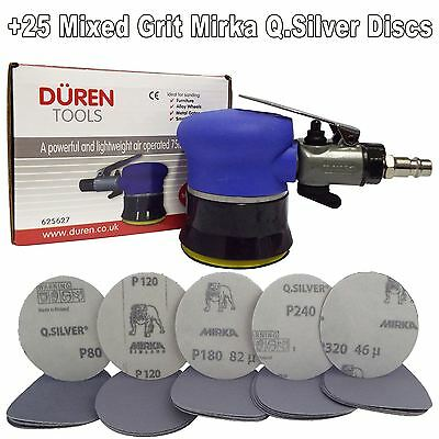 "75mm Mini Palm Air Sander 3"" +25 Mix Sanding Discs Car Body & Alloy Wheel Repair"
