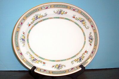 "Royal Doulton Serving Platter Enameled Flowers 15""  Free U S Shipping H1497"