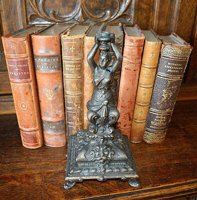 Antique French Figural Female and Gargoyles Pedestal Support Base for Lamp