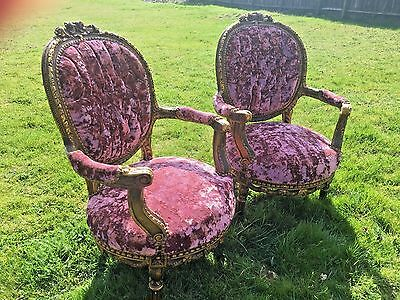 Stunning Pair Of Antique French Louis Chairs In Raspberry Pink Crushed Velvet