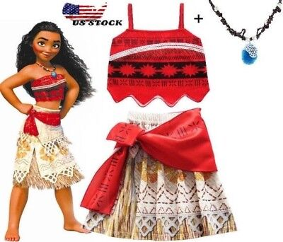 Girls Kids Movie Polynesia princess Moana 2-Piece Costume Birthday Dress M6