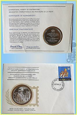 1977 Sri-Lanka  Int. Society of Postmasters Silver Proof Medallion & Stamps