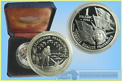 """Franc - Silver 1 Franc Proof """"6 Juin 1944"""" D-Day in Case"""
