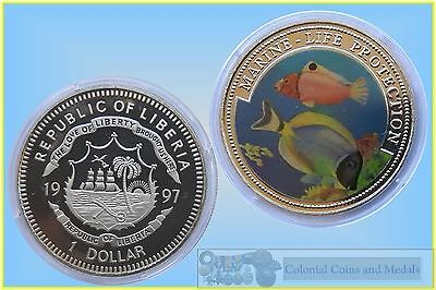Liberia Coloured 1 Dollar - Marine Life Protection 1997 ... BU