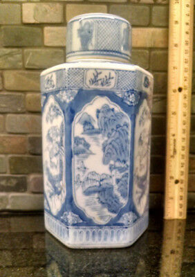 "Vintage Blue White 6 sided hexagonal 8 1/2"" Asian Vase Jar Urn with Lid"