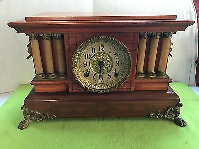 Gorgeous SETH THOMAS Triple Columns Adamantine Mantle Clock C. 1880's