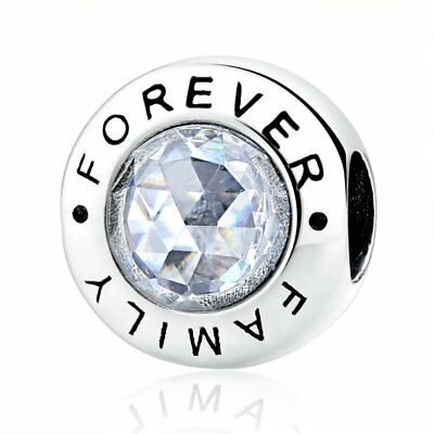 VOROCO Forever Family S925. Sterling Silver Bead With CZ Charm Crystal Bracelets